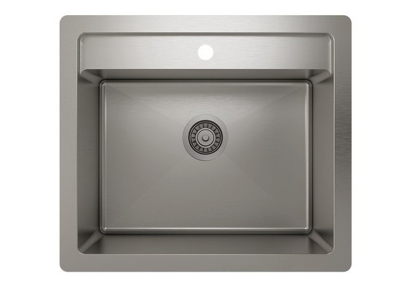 JULIEN IH75-DS-252212 PROINOX H75 25 INCH DUAL-MOUNT SINGLE BOWL 18 GAUGE STAINLESS STEEL KITCHEN SINK