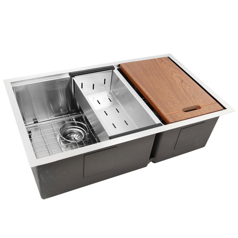 NANTUCKET SR-PS-3219-OS-16 PRO SERIES 60/40 OFFSET DOUBLE BOWL PREP STATION SMALL RADIUS UNDERMOUNT STAINLESS SINK WITH ACCESSORIES