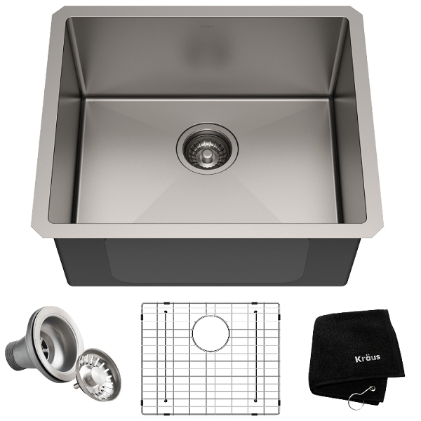 KRAUS KHU101-21 STANDART PRO 21 INCH UNDERMOUNT SINGLE BOWL 16 GAUGE STAINLESS STEEL KITCHEN SINK SET