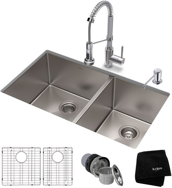 KRAUS KHU103-33-1610-53 STANDART PRO 32-3/4 INCH UNDERMOUNT DOUBLE BOWL  STAINLESS STEEL KITCHEN SINK AND BOLDEN COMMERCIAL PULL-DOWN KITCHEN FAUCET  ...