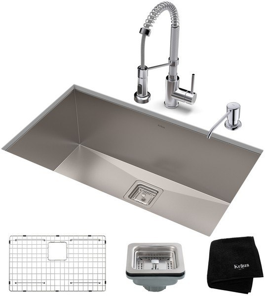 KRAUS KHU29-1610-53 29 INCH STAINLESS STEEL KITCHEN SINK AND BOLDEN COMMERCIAL PULL-DOWN KITCHEN FAUCET SET