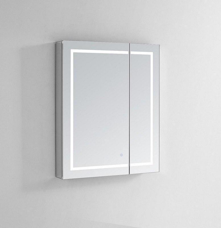 AQUADOM RP-3636 ROYALE PLUS 36X36 LIGHTED MIRROR GLASS MEDICINE CABINET FOR BATHROOM, DEFOGGER, DIMMER, OUTLET