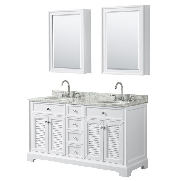 WYNDHAM COLLECTION WCS212160DWHCMUNOMED TAMARA 60 INCH DOUBLE BATHROOM VANITY IN WHITE WITH WHITE CARRARA MARBLE COUNTERTOP, UNDERMOUNT OVAL SINKS AND MEDICINE CABINETS