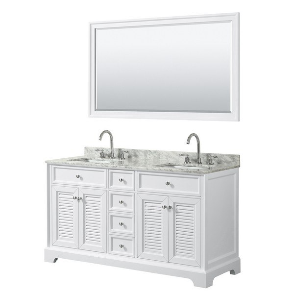 WYNDHAM COLLECTION WCS212160DWHCMUNSM58 TAMARA 60 INCH DOUBLE BATHROOM VANITY IN WHITE WITH WHITE CARRARA MARBLE COUNTERTOP, UNDERMOUNT SQUARE SINKS AND 58 INCH MIRROR