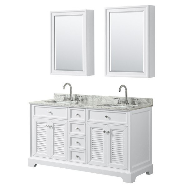 WYNDHAM COLLECTION WCS212160DWHCMUNSMED TAMARA 60 INCH DOUBLE BATHROOM VANITY IN WHITE WITH WHITE CARRARA MARBLE COUNTERTOP, UNDERMOUNT SQUARE SINKS AND MEDICINE CABINETS
