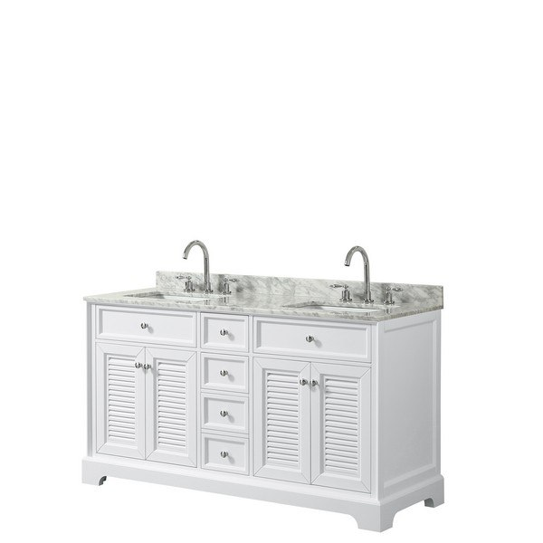 WYNDHAM COLLECTION WCS212160DWHCMUNSMXX TAMARA 60 INCH DOUBLE BATHROOM VANITY IN WHITE WITH WHITE CARRARA MARBLE COUNTERTOP AND UNDERMOUNT SQUARE SINKS