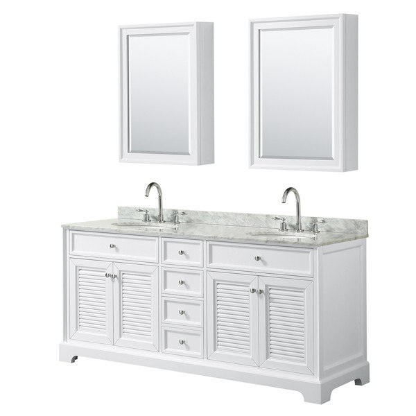 WYNDHAM COLLECTION WCS212172DWHCMUNOMED TAMARA 72 INCH DOUBLE BATHROOM VANITY IN WHITE WITH WHITE CARRARA MARBLE COUNTERTOP, UNDERMOUNT OVAL SINKS AND MEDICINE CABINETS