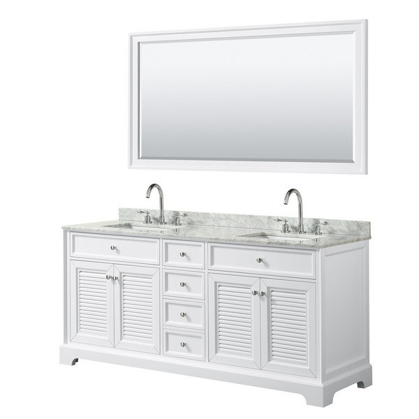 WYNDHAM COLLECTION WCS212172DWHCMUNSM70 TAMARA 72 INCH DOUBLE BATHROOM VANITY IN WHITE WITH WHITE CARRARA MARBLE COUNTERTOP, UNDERMOUNT SQUARE SINKS AND 70 INCH MIRROR