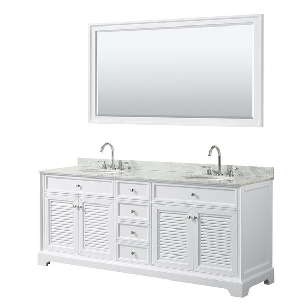 WYNDHAM COLLECTION WCS212180DWHCMUNOM70 TAMARA 80 INCH DOUBLE BATHROOM VANITY IN WHITE WITH WHITE CARRARA MARBLE COUNTERTOP, UNDERMOUNT OVAL SINKS AND 70 INCH MIRROR