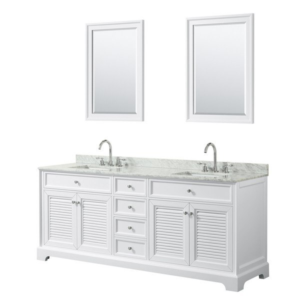 WYNDHAM COLLECTION WCS212180DWHCMUNSM24 TAMARA 80 INCH DOUBLE BATHROOM VANITY IN WHITE WITH WHITE CARRARA MARBLE COUNTERTOP, UNDERMOUNT SQUARE SINKS AND 24 INCH MIRRORS