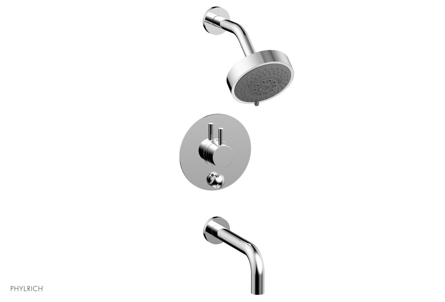 PHYLRICH 230-29 BASIC II WALL MOUNT PRESSURE BALANCE TUB AND SHOWER SET WITH LEVER HANDLE