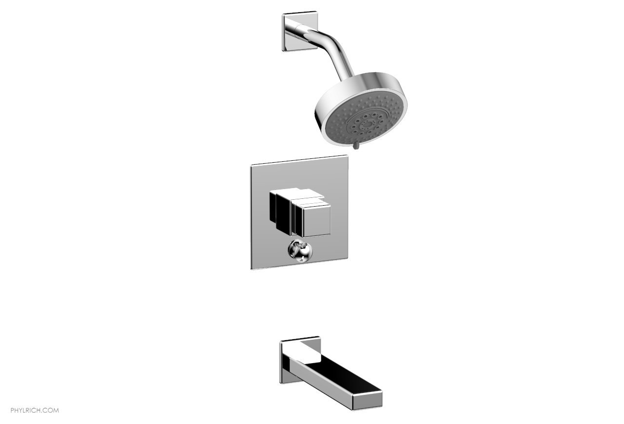 PHYLRICH 290-29 MIX WALL MOUNT PRESSURE BALANCE TUB AND SHOWER SET WITH CUBE HANDLE