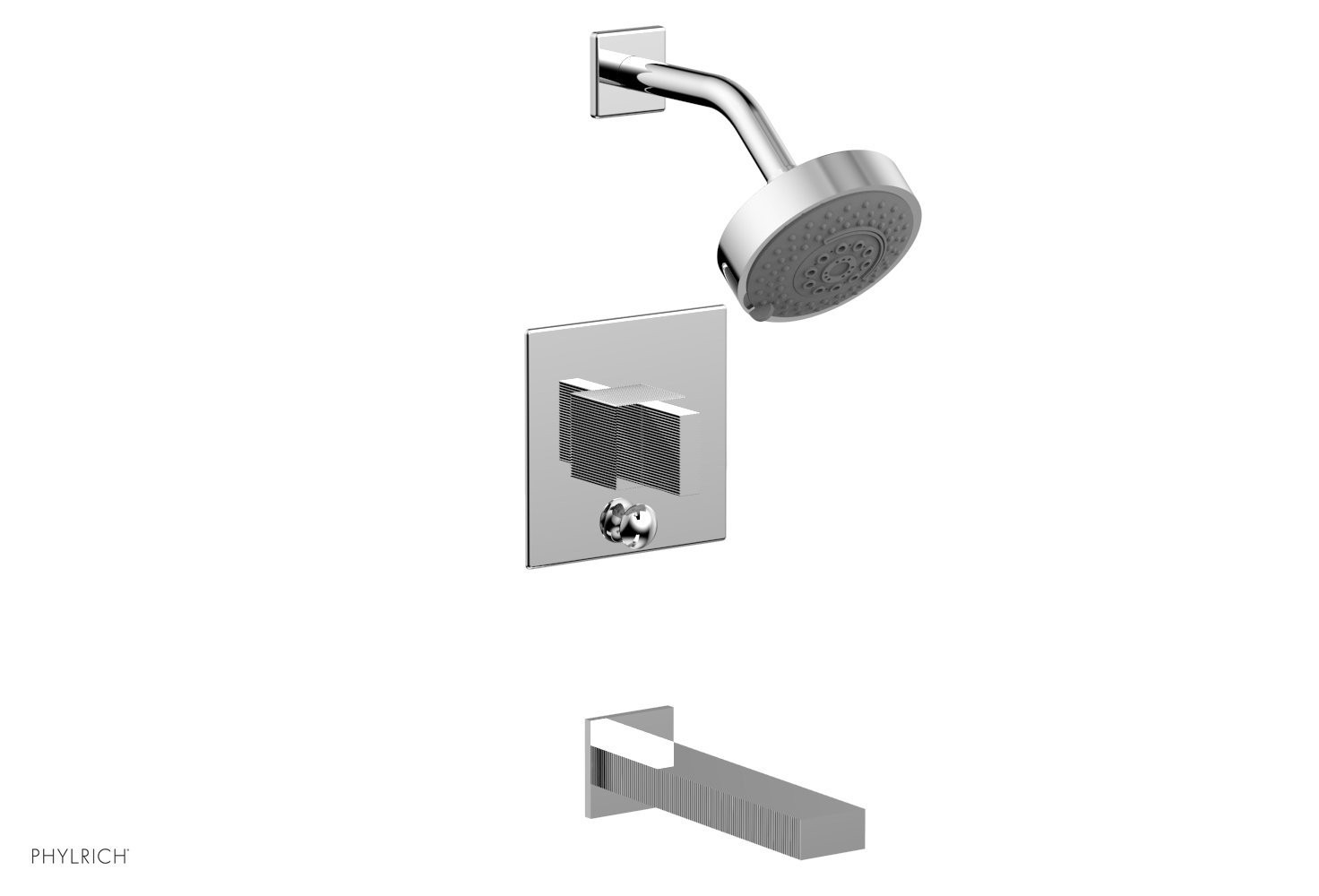 PHYLRICH 291-26 STRIA WALL MOUNT PRESSURE BALANCE TUB AND SHOWER SET WITH BLADE HANDLE