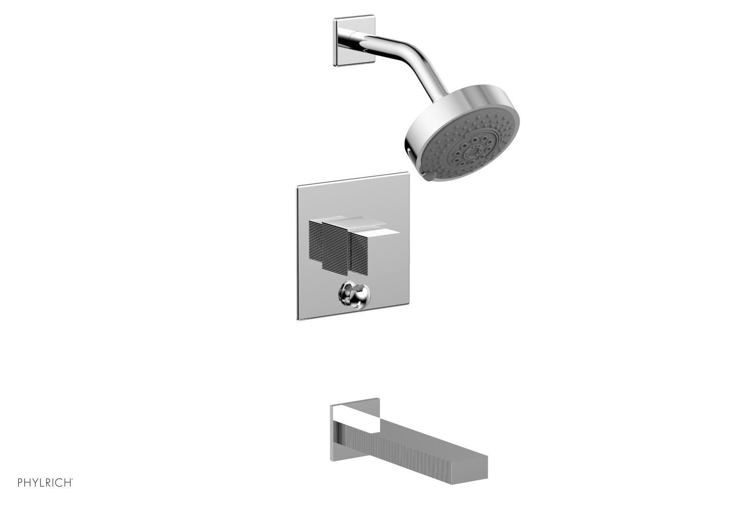 PHYLRICH 291-29 STRIA WALL MOUNT PRESSURE BALANCE TUB AND SHOWER SET WITH CUBE HANDLE