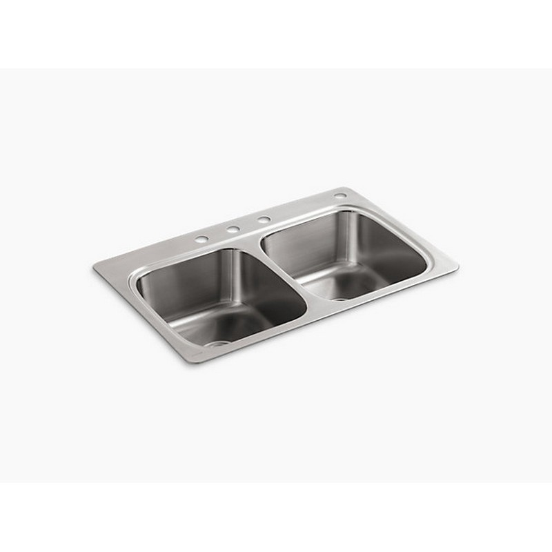 KOHLER K-5267-4-NA VERSE 33 INCH DOUBLE BASIN DROP IN STAINLESS STEEL KITCHEN SINK WITH FOUR FAUCET HOLES