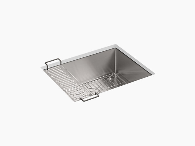 KOHLER K-5286-NA STRIVE 24 INCH SINGLE BASIN UNDERMOUNT 16-GAUGE STAINLESS STEEL KITCHEN SINK WITH SILENTSHIELD