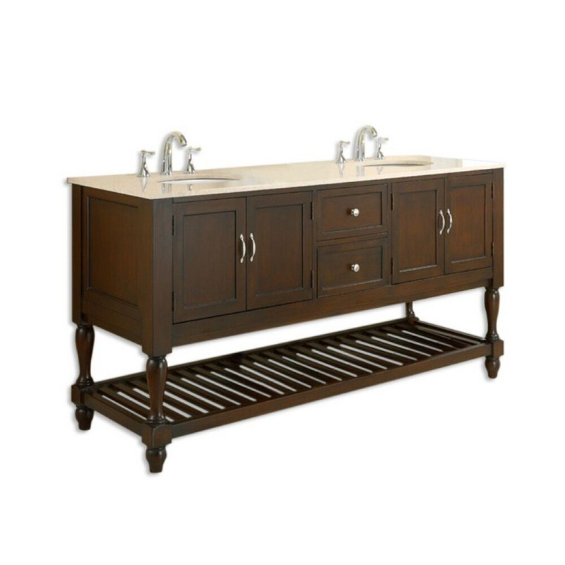 DIRECT VANITY SINK 6070D10-ESB MISSION TURNLEG 70 INCH DOUBLE VANITY IN DARK BROWN WITH BEIGE MARBLE TOP