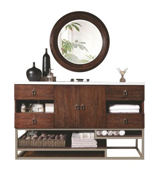 JAMES MARTIN 864-V60S-CFO-4GLB SONORAN 60 INCH SINGLE VANITY IN COFFEE OAK WITH 4 CM GALALA BEIGE MARBLE TOP