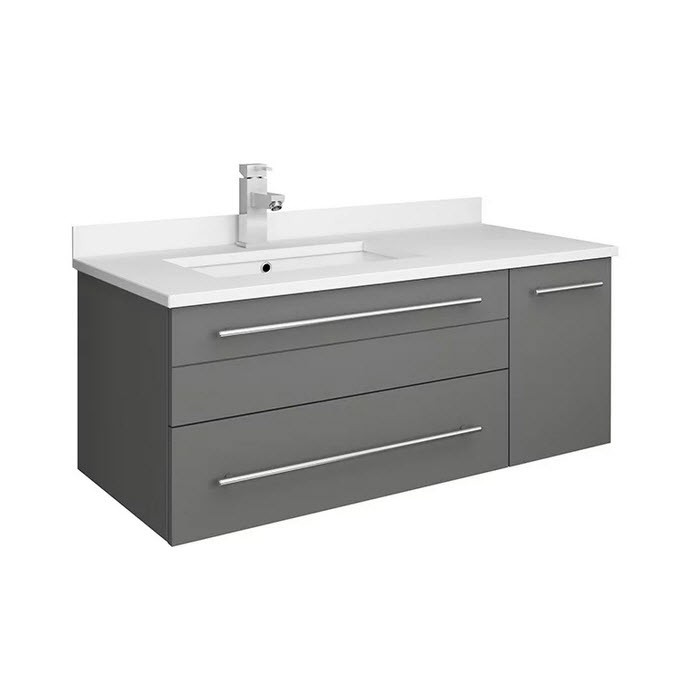 FRESCA FCB6136GR-UNS-L-CWH-U LUCERA 36 INCH GRAY WALL HUNG MODERN BATHROOM CABINET WITH TOP AND UNDERMOUNT SINK - LEFT VERSION