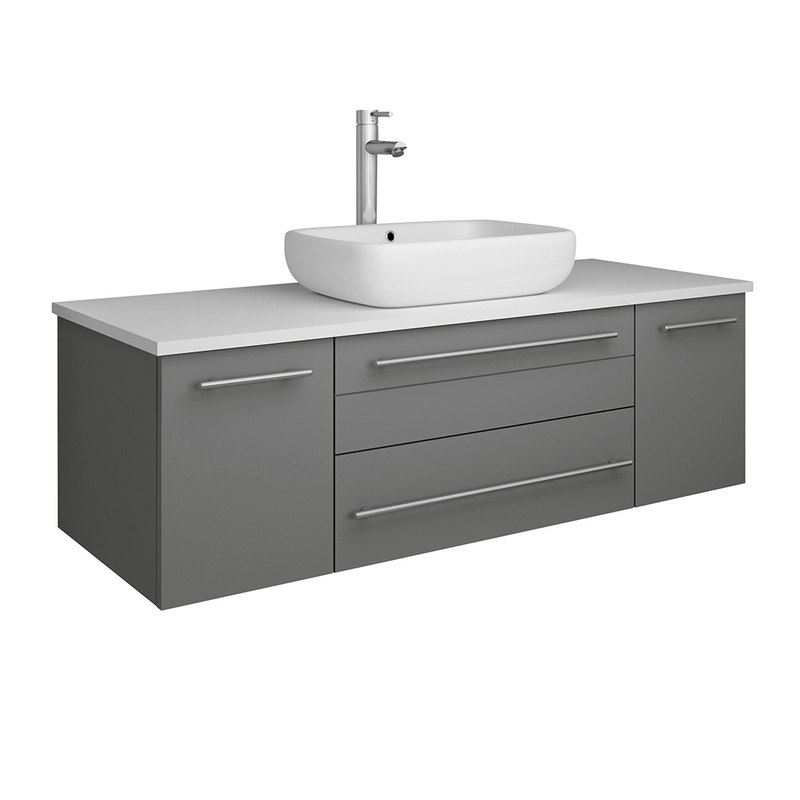 FRESCA FCB6148GR-VSL-CWH-V LUCERA 48 INCH GRAY WALL HUNG MODERN BATHROOM CABINET WITH TOP AND VESSEL SINK