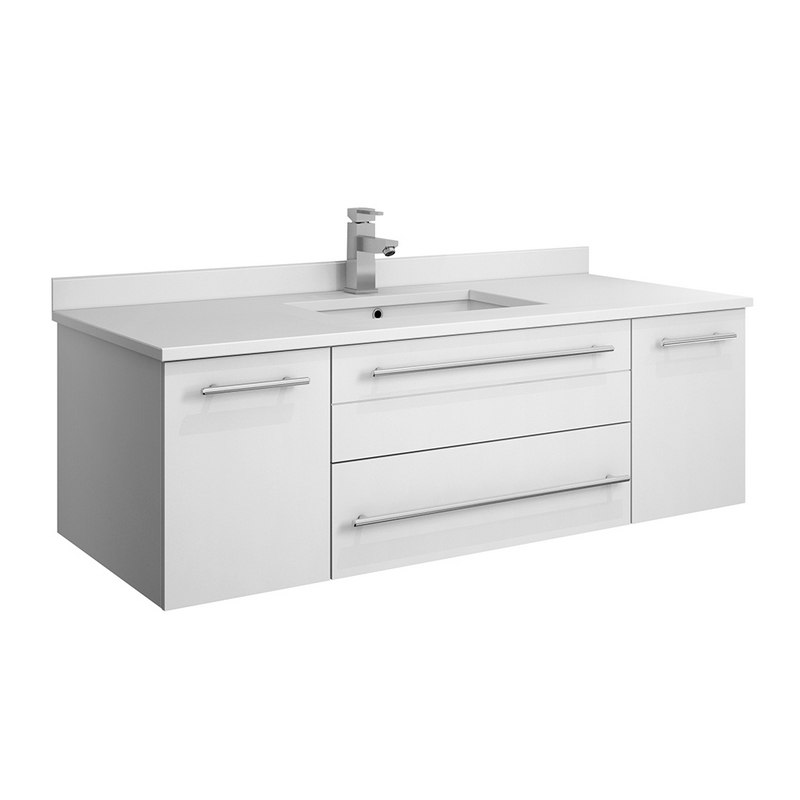 FRESCA FCB6148WH-UNS-CWH-U LUCERA 48 INCH WHITE WALL HUNG MODERN BATHROOM CABINET WITH TOP AND UNDERMOUNT SINK