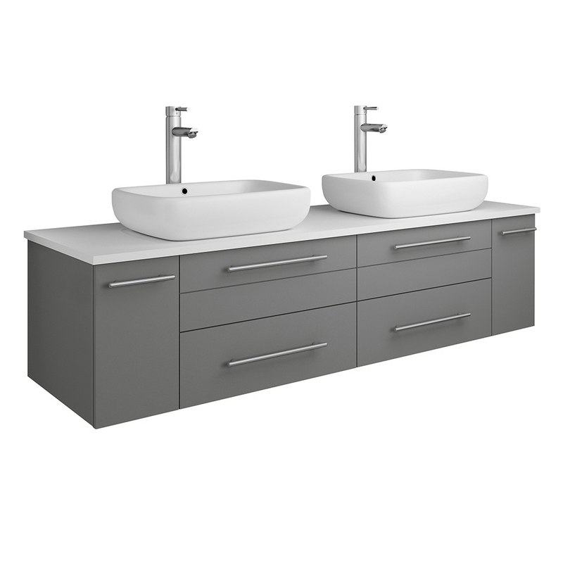FRESCA FCB6160GR-VSL-D-CWH-V LUCERA 60 INCH GRAY WALL HUNG MODERN BATHROOM CABINET WITH TOP AND DOUBLE VESSEL SINKS