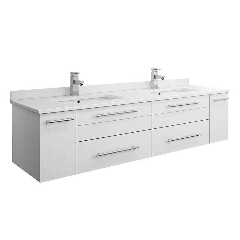 FRESCA FCB6160WH-UNS-D-CWH-U LUCERA 60 INCH WHITE WALL HUNG MODERN BATHROOM CABINET WITH TOP AND DOUBLE UNDERMOUNT SINKS