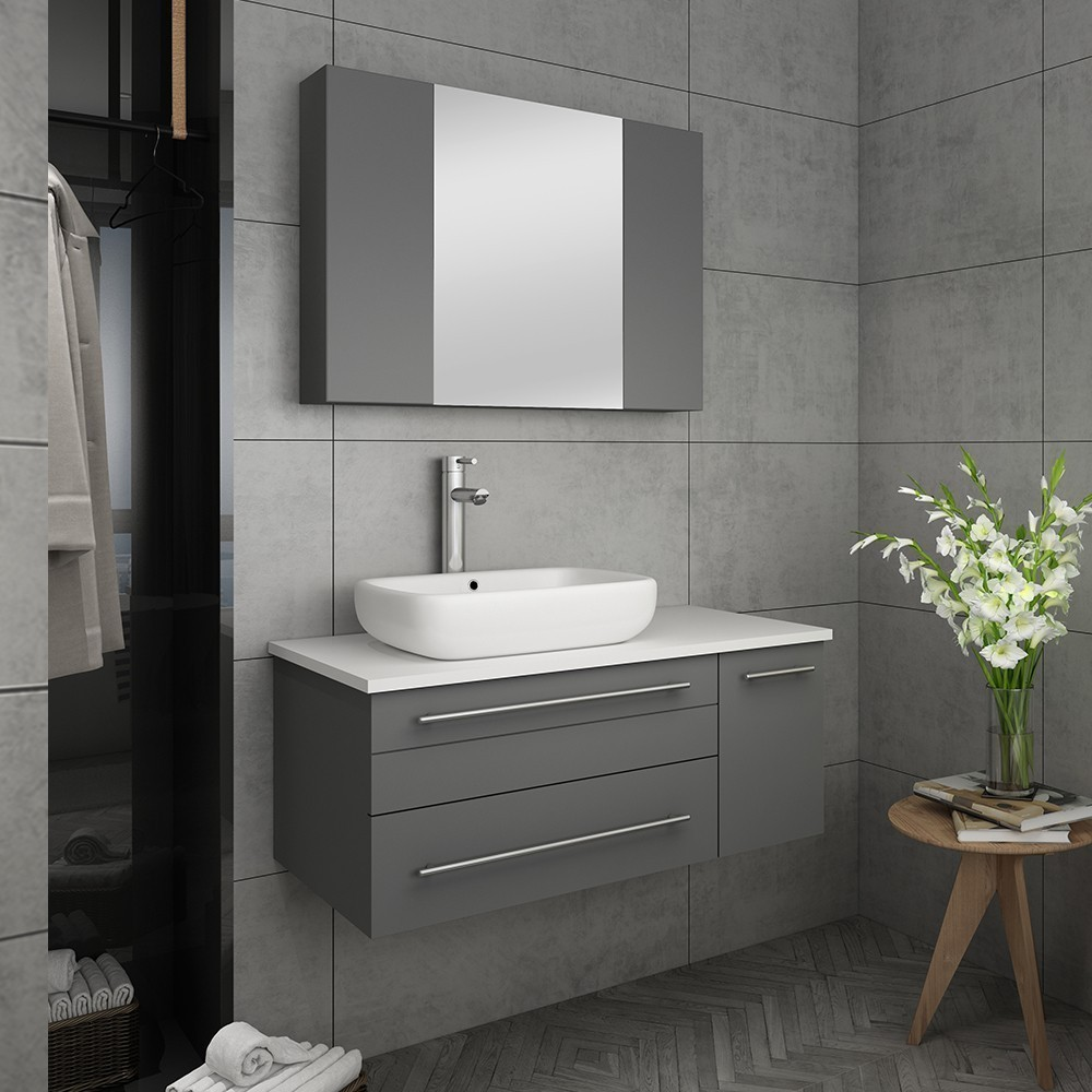 Gray Wall Hung Vessel Sink
