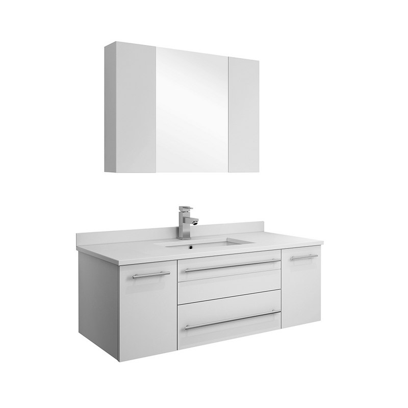 Fresca Fvn6142wh Uns Lucera 42 Inch White Wall Hung Undermount Sink Modern Bathroom Vanity With Medicine
