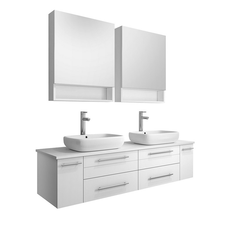 fresca fvn6160wh vsl d lucera 60 inch white wall hung double vessel sink modern bathroom vanity with medicine cabinets