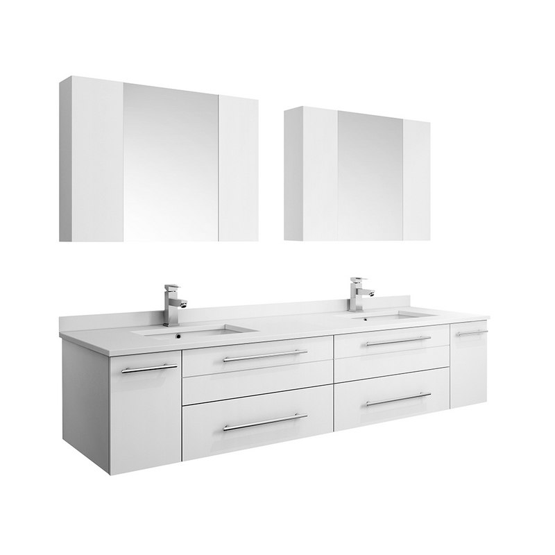 Fresca Fvn6172wh Uns D Lucera 72 Inch White Wall Hung Double Undermount Sink Modern Bathroom Vanity With Medicine