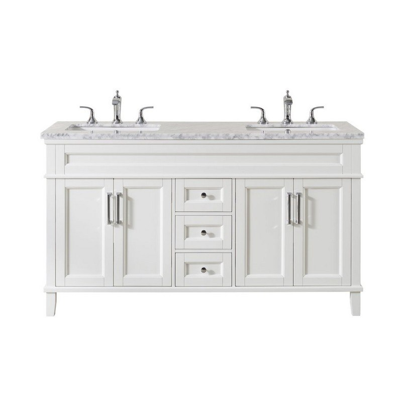 Stufurhome Ty 300 59 288ch Melody 59 Inch White Double Sink Bathroom Vanity With Drains And