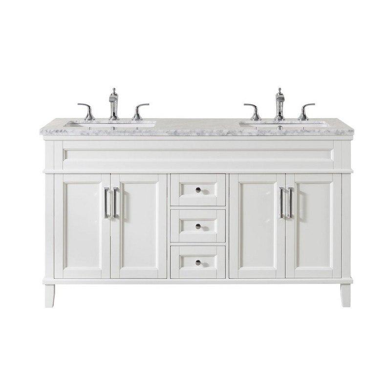 Stufurhome Ty 300 59 Cr Melody 59 Inch White Double Sink Bathroom Vanity