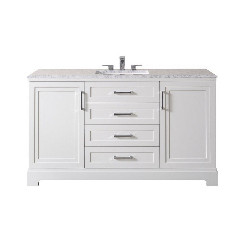 Stufurhome Ty 800 60 555ch Idlewind Inch White Single Sink Bathroom Vanity With Drain And Faucet In Chrome