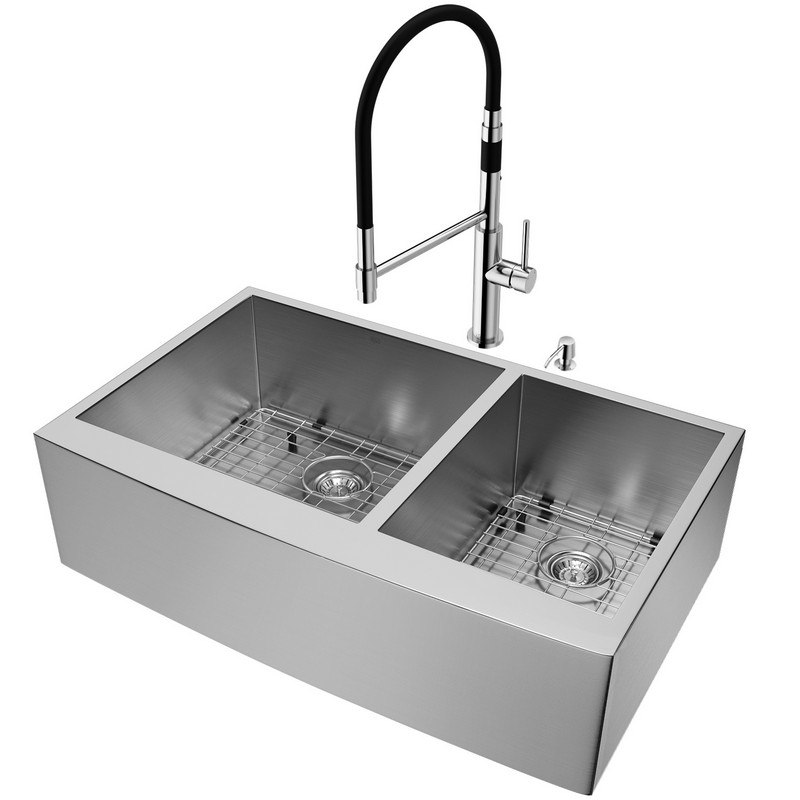 VIGO VG15739 ALL-IN-ONE 36 INCH CHISHOLM STAINLESS STEEL DOUBLE BOWL  FARMHOUSE APRON KITCHEN SINK SET WITH NORWOOD FAUCET IN CHROME, TWO GRIDS,  TWO ...