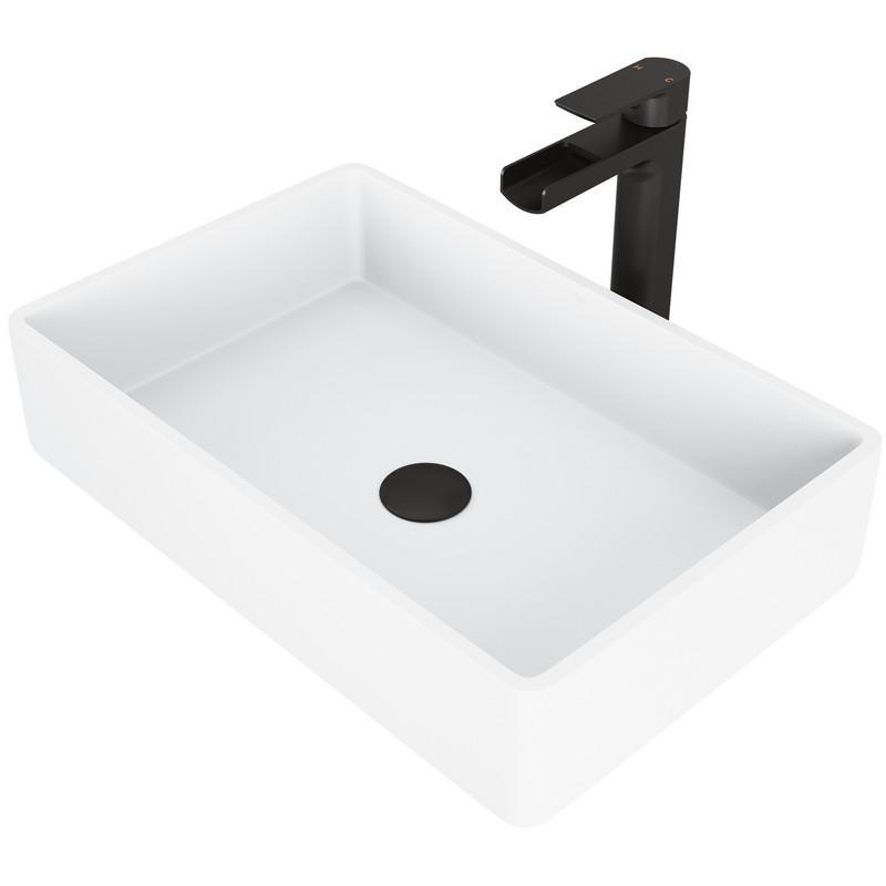 Vigo Vgt944 Magnolia Matte Stone Vessel Bathroom Sink Set With Amada Faucet In Black