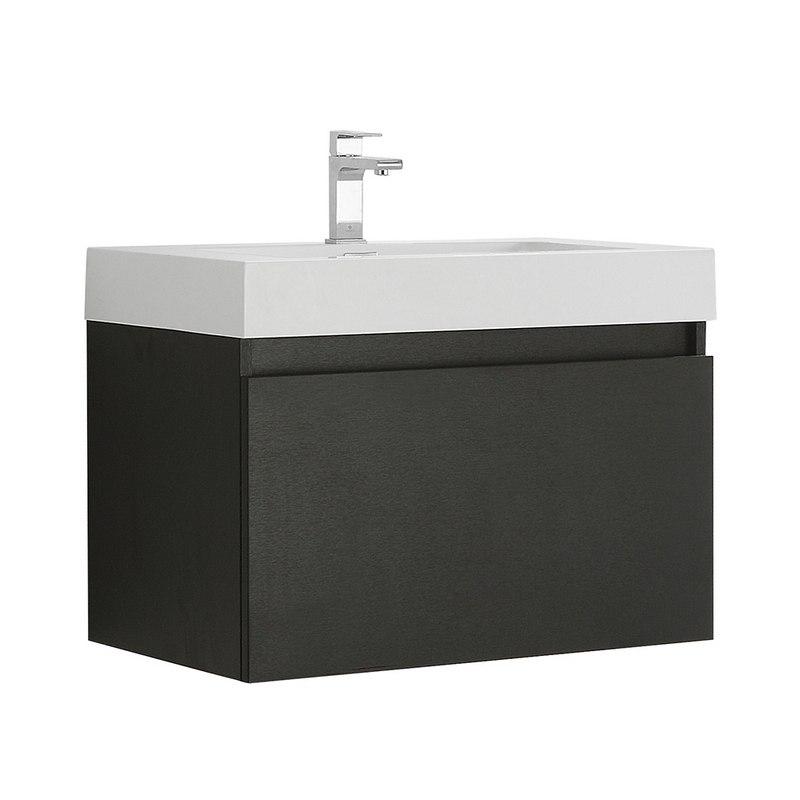 FRESCA FCB8007BW-I MEZZO 30 INCH BLACK WALL HUNG MODERN BATHROOM CABINET WITH INTEGRATED SINK