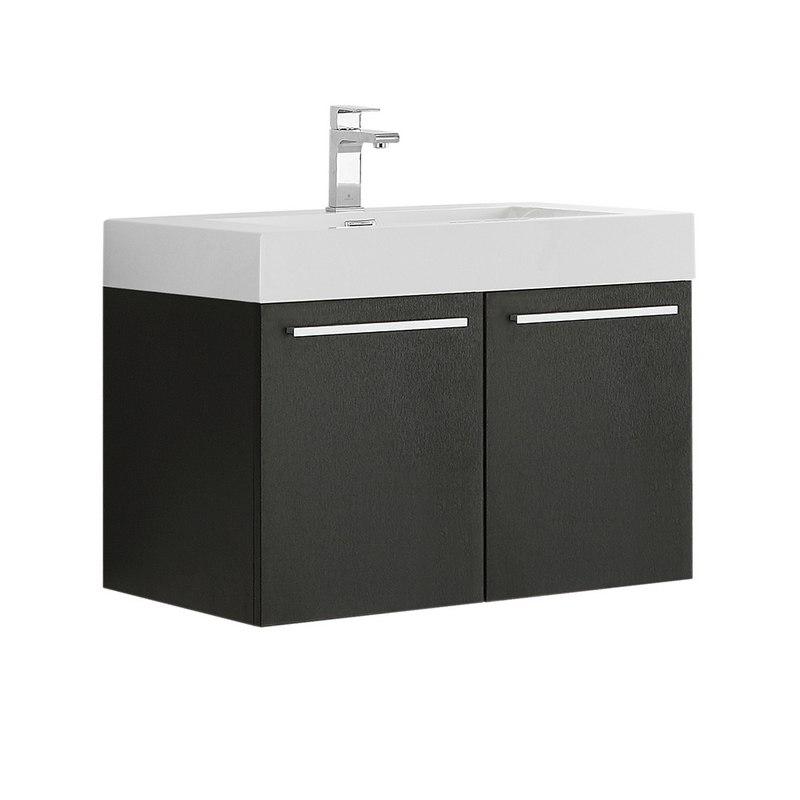 FRESCA FCB8089BW-I VISTA 30 INCH BLACK WALL HUNG MODERN BATHROOM CABINET WITH INTEGRATED SINK
