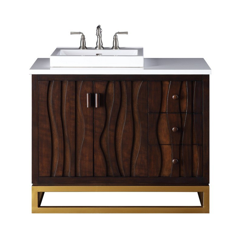 Chans Furniture Tb 9655 42 Inch Tennant Brand Catalanes Modern Contemporary Bathroom Sink Vanity Cabinet In