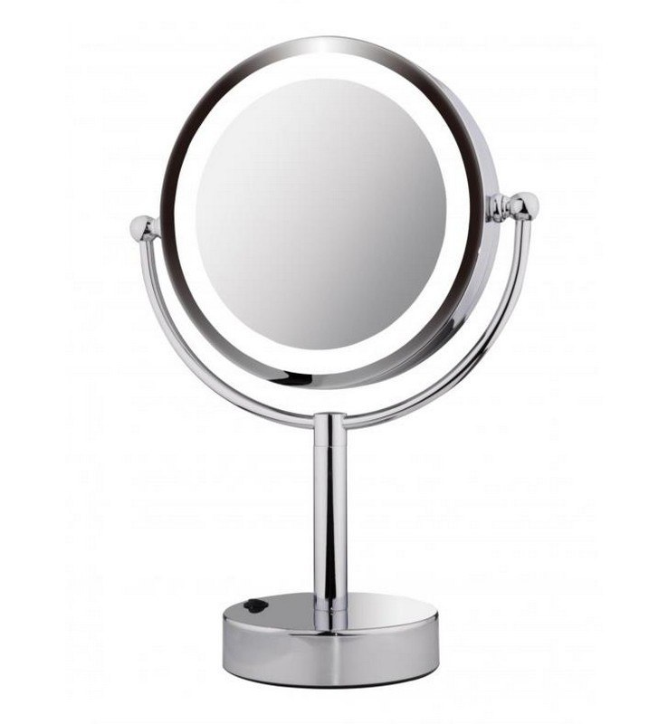 ICO V9013 8.5 INCH DOUBLE SIDED LIGHTED FREESTANDING MIRROR IN CHROME