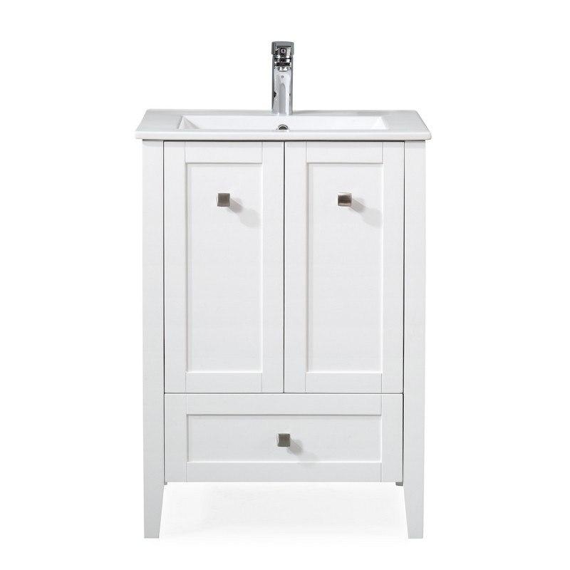 Chans Furniture Wfs 85033w 25 Inch Tennant Brand Vermezzo Modern Small Slim White Bathroom Vanity In