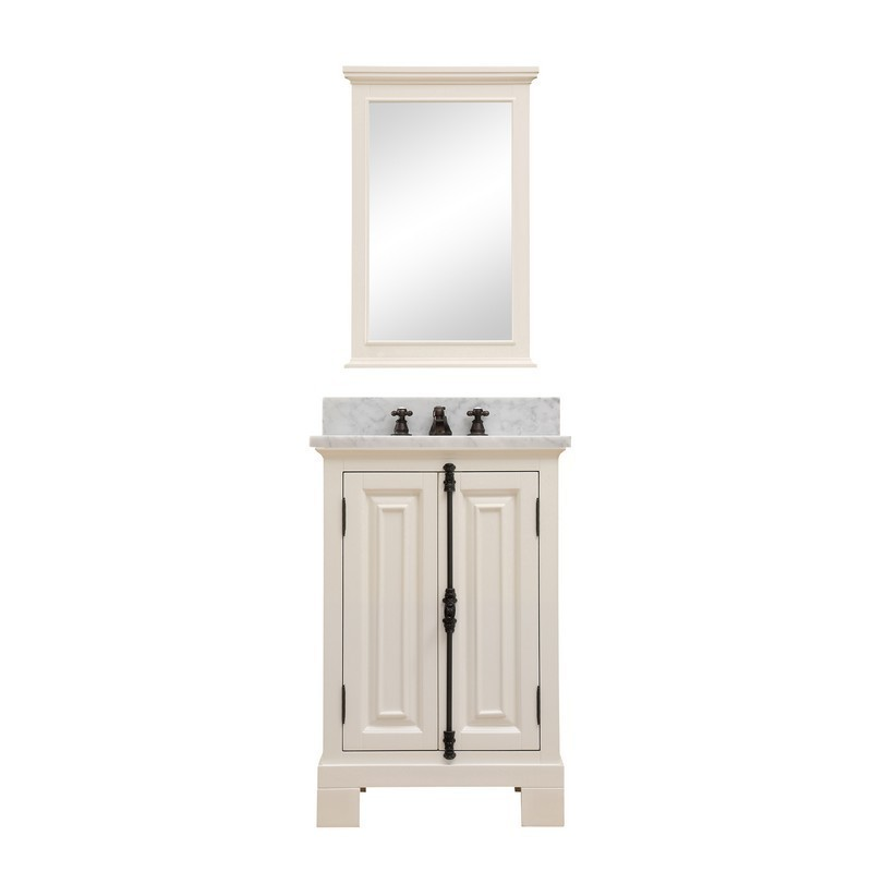 WATER-CREATION GREENWICH24AWBF GREENWICH 24 INCH ANTIQUE WHITE SINGLE SINK BATHROOM VANITY WITH MATCHING FRAMED MIRROR AND FAUCET