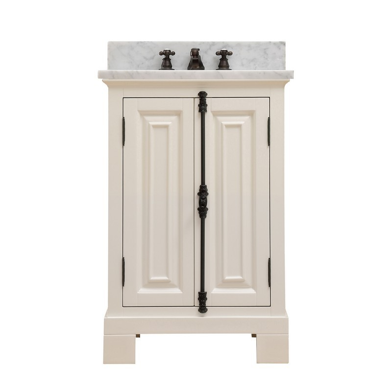 WATER-CREATION GREENWICH24AWF GREENWICH 24 INCH ANTIQUE WHITE SINGLE SINK BATHROOM VANITY WITH FAUCET