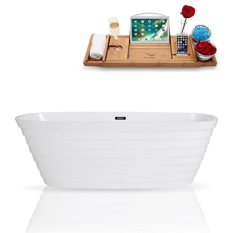 STREAMLINE K-1486-67FSWHSS-FM 67 INCH SOLID SURFACE RESIN SOAKING FREESTANDING TUB AND TRAY WITH INTERNAL DRAIN