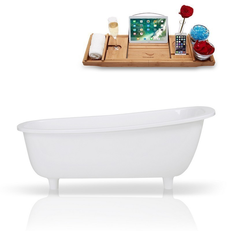 STREAMLINE K-1686-63FSWHSS-FM 63 INCH SOLID SURFACE RESIN SOAKING FREESTANDING TUB AND TRAY WITH INTERNAL DRAIN
