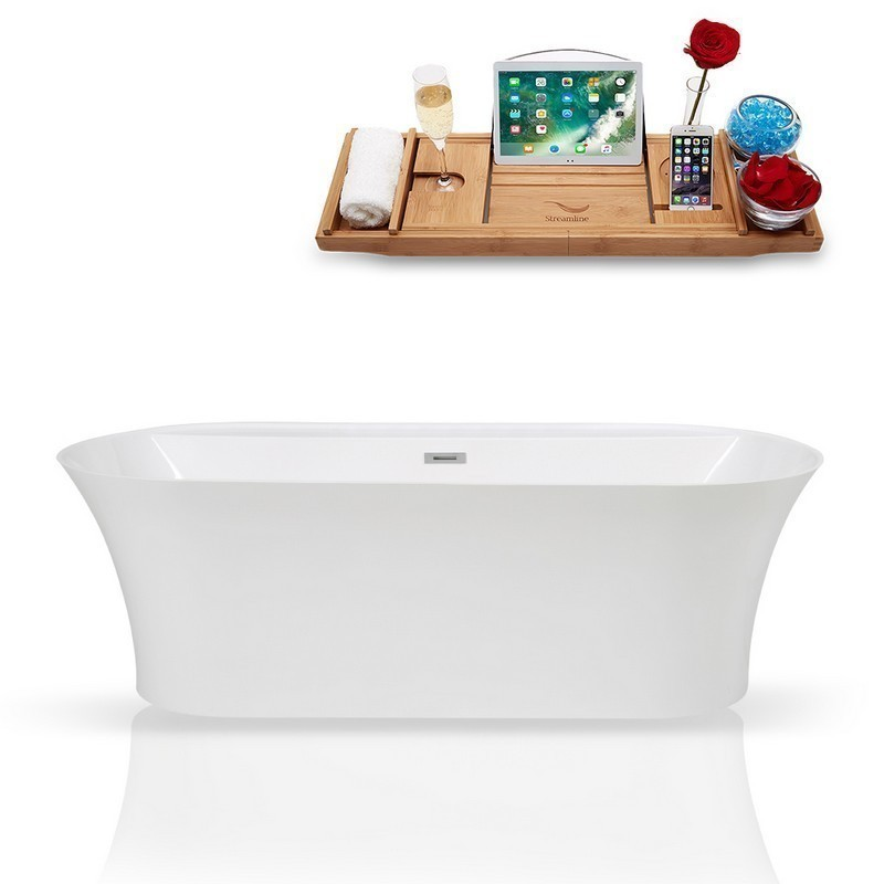 STREAMLINE K-1980-67FSWHSS-FM 67 INCH SOLID SURFACE RESIN SOAKING FREESTANDING TUB AND TRAY WITH INTERNAL DRAIN