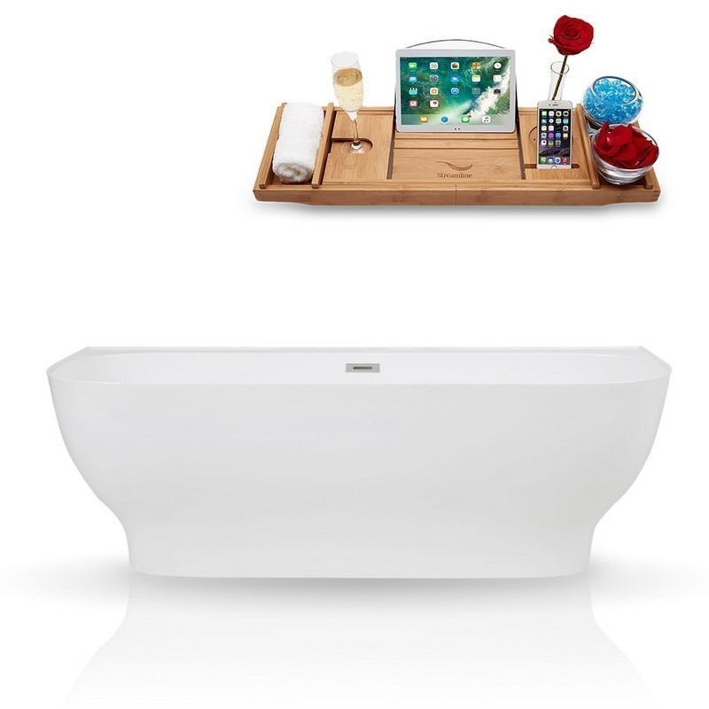 STREAMLINE K-87-67FSWHSS-FM 67 INCH SOLID SURFACE RESIN SOAKING FREESTANDING TUB AND TRAY WITH INTERNAL DRAIN