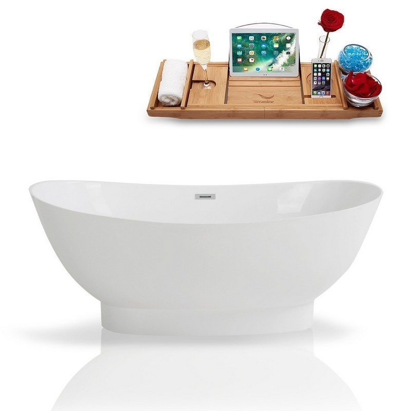 STREAMLINE K-962-67FSWHSS-FM 67 INCH SOLID SURFACE RESIN SOAKING FREESTANDING TUB AND TRAY WITH INTERNAL DRAIN