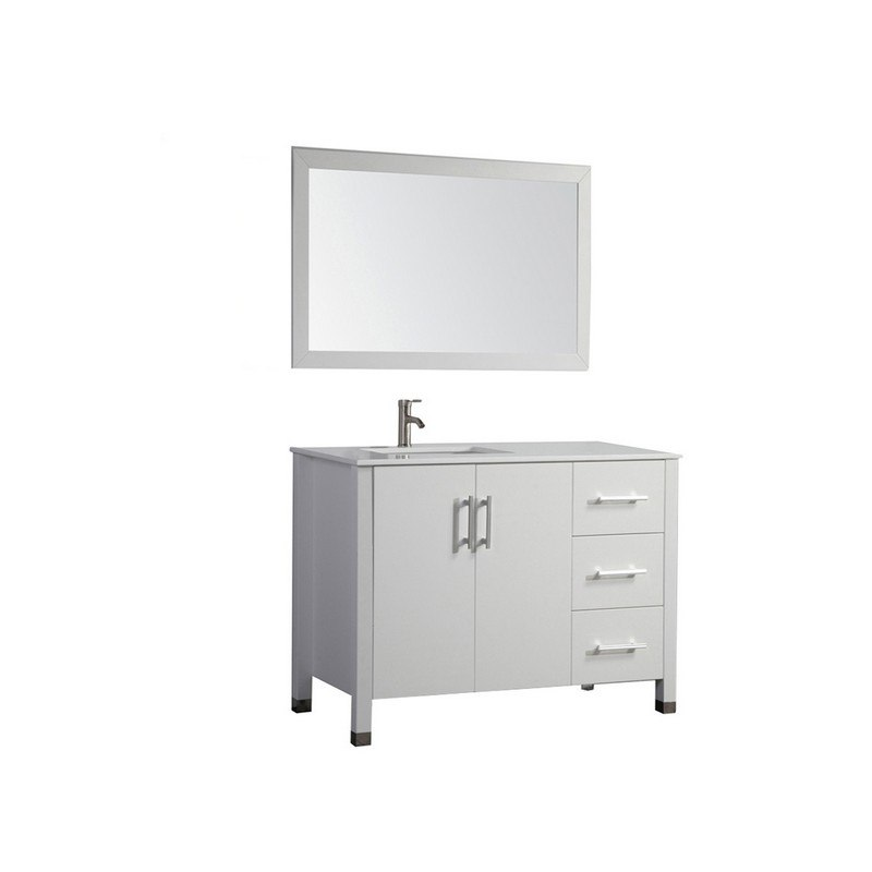 Mtd Mtd 8118c Lw Monaco 40 Inch Single Sink Bathroom Vanity In White Sink On Left Side Mtd 8118c Lw Mtd8118clw