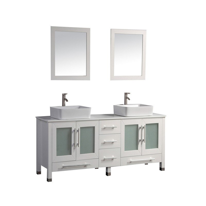 MTD MTD-8119W MALTA 71 INCH DOUBLE SINK BATHROOM VANITY IN WHITE